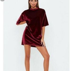 Velvet oversized tshirt dress